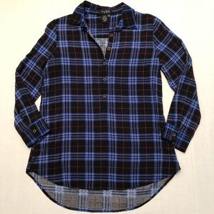 Papillon Blue Plaid Half Button Shirt Size Medium